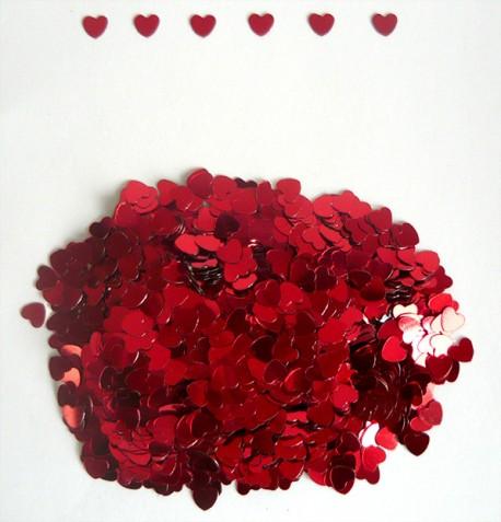 "Конфетти ""Сердца Красные"" 6 мм /14 гр./ (Китай)"