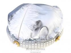 Карнавальная шляпа тюрбан серебро с пером 12*20*20