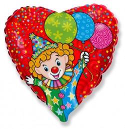 Шар Сердце Веселый клоун 48см