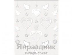 Гирлянда вертикальная Сердца и голуби 5шт