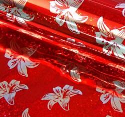 Бумага голография Лилии на красном 70 см х 100 см