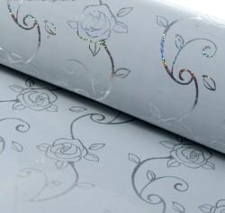 Бумага голография Розочки на белом 70 х 100 см