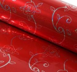 Бумага голография Розочки на красном 70 х 100 см