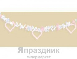 Гирлянда Сердце бело-розовое 450м