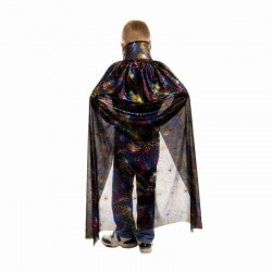 Плащ для Хэллоуина Паутина цветная на черном 100см
