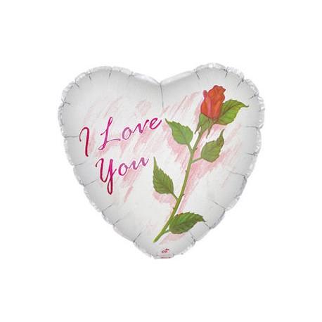 Шар (18'/46 см) Сердце, Я люблю тебя (роза), Белый, 1 шт.