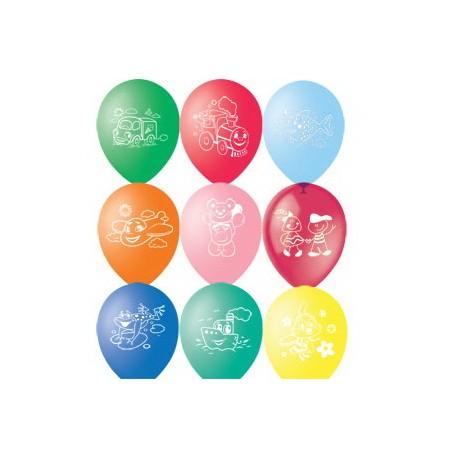 """M 12""""/30см Пастель+Декоратор (шелк) 2 ст. рис Детская тематика 50шт шар латекс"""