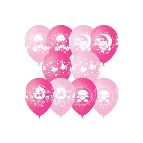 """M 12""""/30см Пастель+Декоратор (шелк) 4 ст. рис С Днем Рождения Малыш ассорти розовое 25шт шар латекс"""