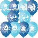 """M 12""""/30см Пастель+Декоратор (шелк) 4 ст. рис С Днем Рождения Малыш ассорти голубое 25шт шар латекс"""