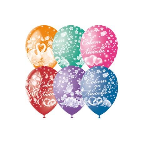 """M 12""""/30см Пастель+Декоратор (растр) 5 ст. рис Совет да Любовь 25шт шар латекс"""