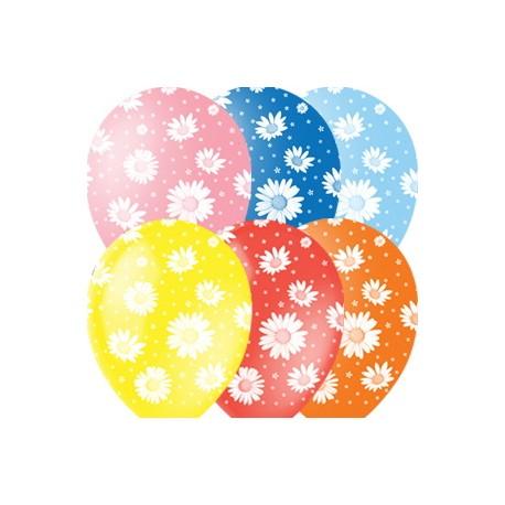 """M 12""""/30см Пастель+Декоратор (растр) 5 ст. рис Ромашки 25шт шар латекс"""