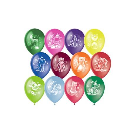 """M 12""""/30см Пастель+Декоратор (растр) 2 ст. рис Веселый зоопарк 50шт шар латекс"""