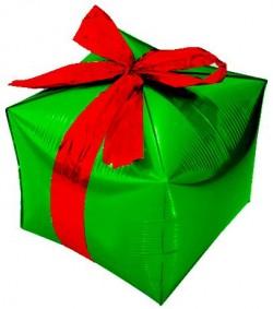 Шар (28''/71 см) Куб, Подарок с бантиком, Зеленый, 1 шт.