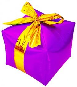 Шар (28''/71 см) Куб, Подарок с бантиком, Фуше, 1 шт.