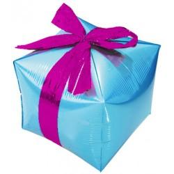 Шар (28''/71 см) Куб, Подарок с бантиком, Голубой, 1 шт.