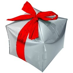 Шар (28''/71 см) Куб, Подарок с бантиком, Серебро, 1 шт.