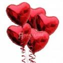 """""""От всего сердца"""" 5 фольгированных сердец с гелием (красные)"""