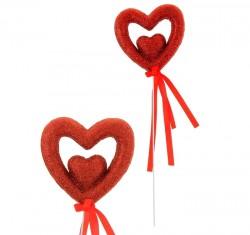 """Сердце сувенирное на палочке блёстка 6,8 см """"Вставка"""", красный"""