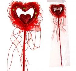 """Сердце сувенирное на палочке блёстка 8 см """"Розы""""вставка, красный"""