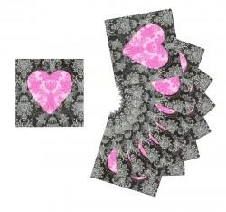 """Салфетки бумажные (набор 20 шт) """"Сердце"""" 33*33 см"""