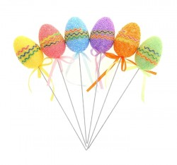 Декор на палочке яйцо (набор 6 шт) три волнистые линии 3 х 3 х 5 см МИКС 951055