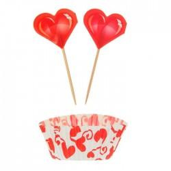 Набор для кексов Сердце в наборе: 24 шпажки, 24 формочки