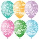 """M 12""""/30см Пастель+Декоратор (растр) 5 ст. рис Праздничная тематика Цветы 25шт шар латекс"""
