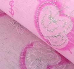 """Флизелин с серебряным рисунком """"Сердца с бабочками"""" ярко-розовый 60 см х 60 см 826573"""