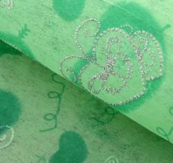 """Флизелин с серебряным рисунком """"Сердца с бабочками"""" светло-зелёный 60 см х 60 см"""