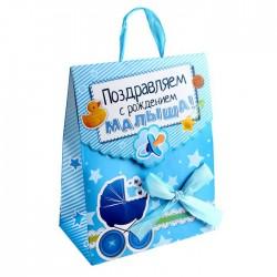 пакет конверт бумага MS С Рождением малыша (бант) 643174