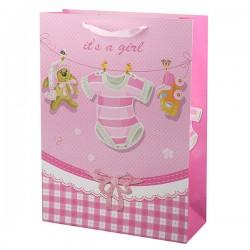 Пакет подарочный Это девочка с глиттером 26х32см