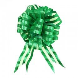 Бант Шар органза Полоска Зеленый (6,4''/16 см)