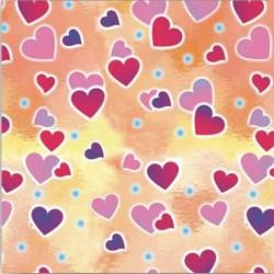 """Бумага подарочная """"Сердечки. Взаимность"""" лист 70 см*100 см / 1 шт. / (Китай)"""