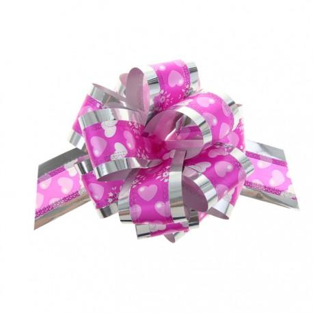 Бант-шар №5 серебро Воздушные сердца на розовом