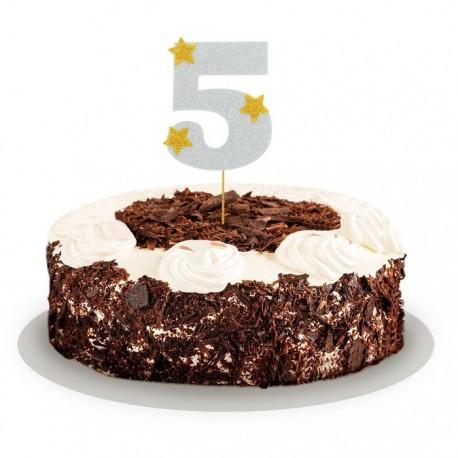 """Топпер для торта """"5"""", цвет серебро 1502914"""