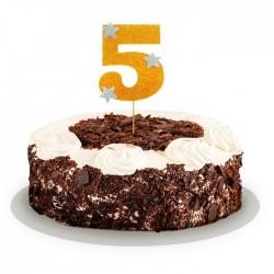 """Топпер для торта """"5"""", цвет золотой 1502904"""