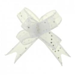 Бант-бабочка №2,5 органза с пайетками, белый