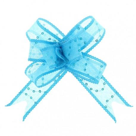 Бант-бабочка №2,5 органза с пайетками, голубой