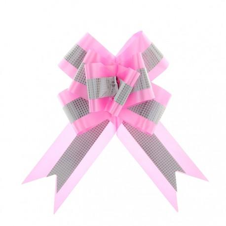 Бант-бабочка №7 с полосой, розовый
