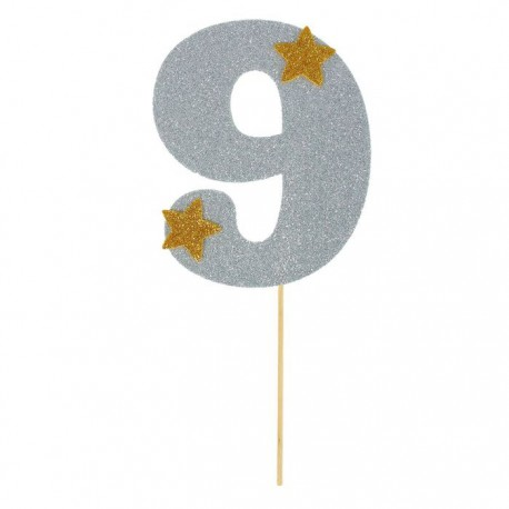 """Топпер для торта """"9"""", цвет серебро"""