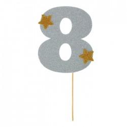 """Топпер для торта """"8"""", цвет серебро"""