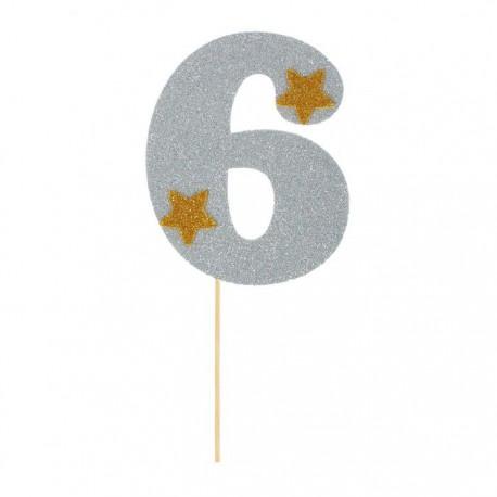 """Топпер для торта """"6"""", цвет серебро"""