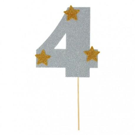 """Топпер для торта """"4"""", цвет серебро"""