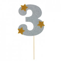 """Топпер для торта """"3"""", цвет серебро 1502912"""