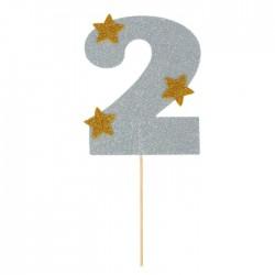 """Топпер для торта """"2"""", цвет серебро 1502911"""