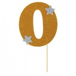 """Топпер для торта """"0"""", цвет золотой 1502909"""