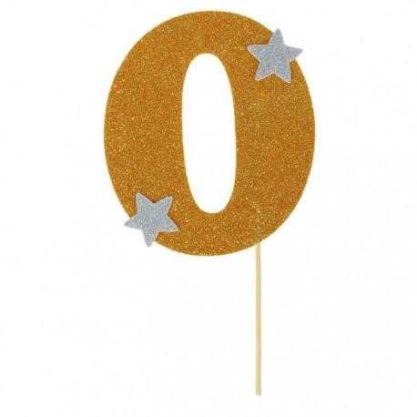 """Топпер для торта """"0"""", цвет золотой"""