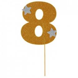 """Топпер для торта """"8"""", цвет золотой"""