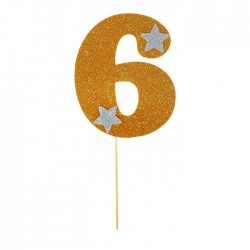 """Топпер для торта """"6"""", цвет золотой 1502905"""