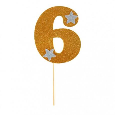 """Топпер для торта """"6"""", цвет золотой"""